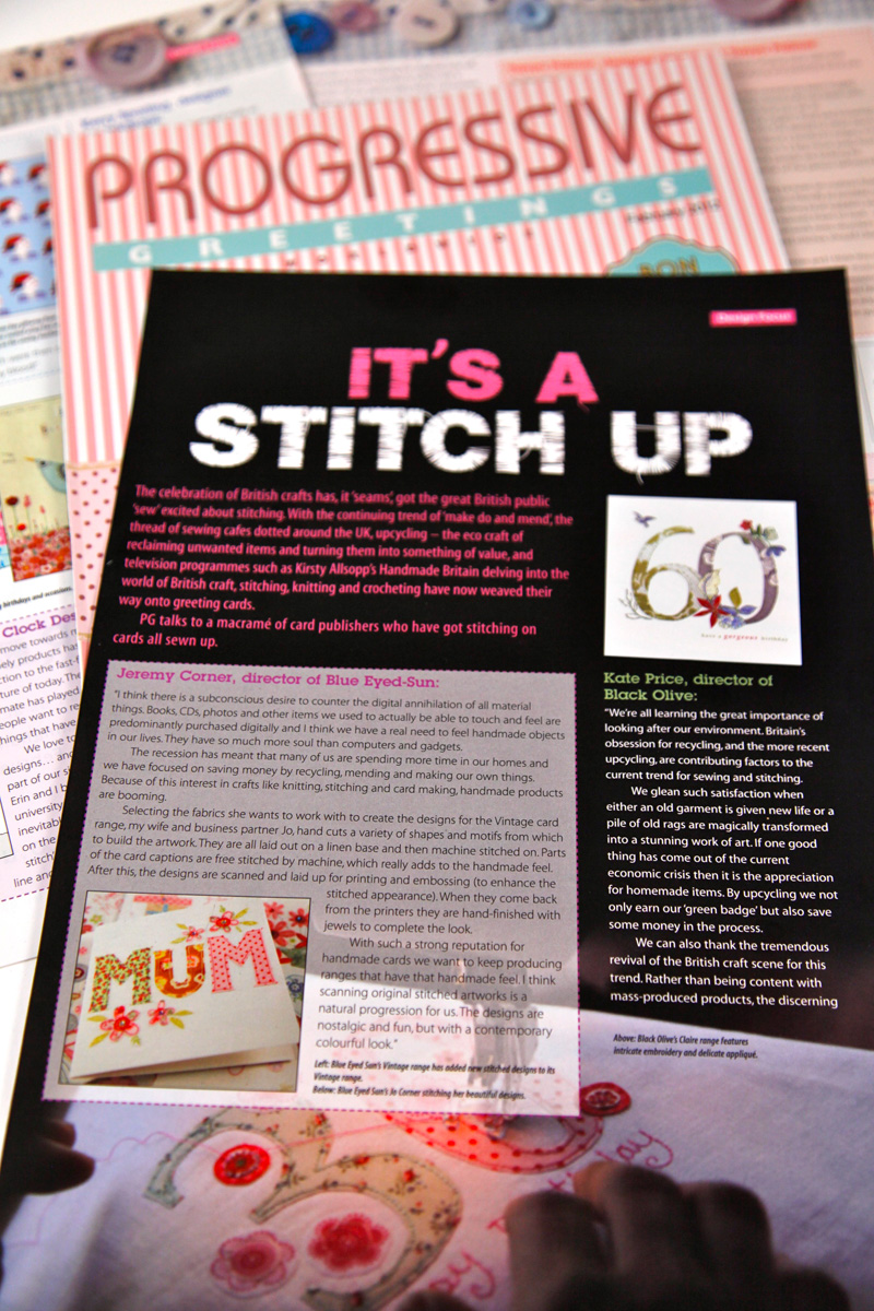 Progressive Greetings Article on Stitched Cards