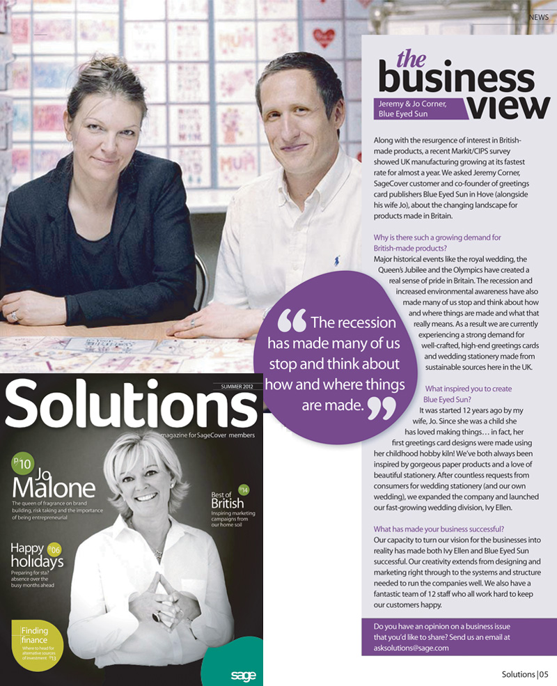 Blue Eyed Sun appear in Sage Solutions Magazine -Summer 2012